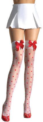 Чорапи със силикон - декорирани със сърца и панделки
