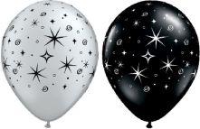 Балони Сребърни и Черни оникс на искри и спирали 11'' (28см.)