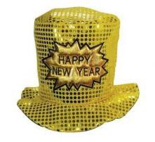 Шапка  HAPPY NEW YEAR с пайети - златиста