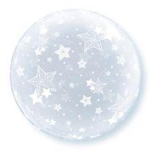 """Фолиен Балон 20""""(51cм.) Прозрачен със звезди"""