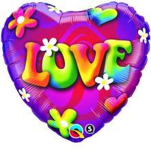 "Сърце с цветя и надпис LOVE  18""- 45 см."