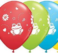 Балони с жаби и маргаритки асорти  11'' (28см.)