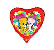 """Сърце с цветя  и  котета  18""""- 45 см."""
