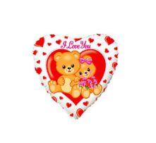 """Сърце със сладки мечета и надпис I LOVE YOU  18""""- 45 см."""