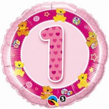 """Цифра 1 розова-   18""""- 46 см."""