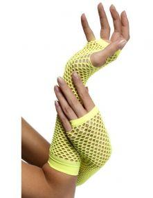 Дълги мрежести ръкавици без пръсти - неоново жълто.