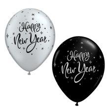 Балон с надпис Happy New Year Сръбърни и Черни оникс 11'' (28см.)