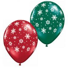 Балони със снежинки  - червени и зелени 11'' (28см.)