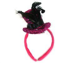 Диадема с шапка - розова с пера.