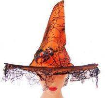 Оранжева вещерска шапка с паяк и дантела