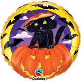"""Фолиен балон с тиква и черна котка 18""""- 45см."""