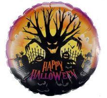 """Фолиен балон с надпис Happy Halloween и страшно дърво 18""""- 45см."""