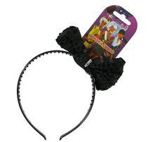 Диадема с черна панделка на пайети