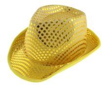 Каубойска шапка - жълта с пайети