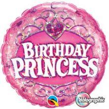 "Фолиен балон с надпис Birthday Princess с корона 18""- 45 см."