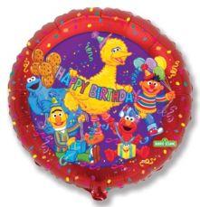 """Балон с Улица Сезам / Sesame Street  и надпис Happy Birthday  18""""- 45 см."""