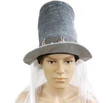 Магьосническа шапка с коса- сребриста