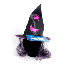 Вещерска шапка детска - черно с лилаво с коса