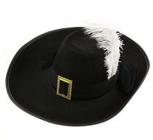 Мускетарска шапка с бяло перо.