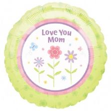 """Фолиен балон с надпис Love Mom  18""""- 45 см."""