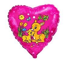 """Сърце фолио със Сърнички 18""""- 45 см."""