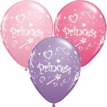 Балони с надпис Princess Принцеса асорти  11'' (28см.)