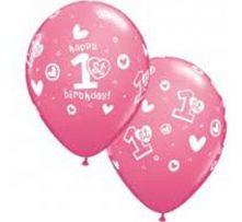 Балони с надпис 1 Рожден Ден Happy Birthday за момиче - розови  11'' (28см.)