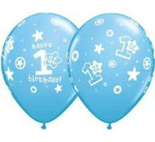 Балони с надпис 1 Рожден Ден Happy Birthday за момче - сини 11'' (28см.)