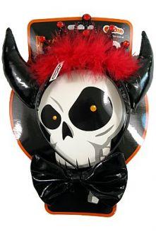 Дяволски черни рогa за глава с корона и папионка