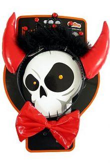 Дяволски червени рогa за глава с корона и папионка