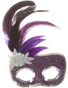 Домино карнавално лилаво с пера, цвете и пайети