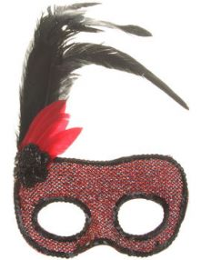 Домино карнавално червено/черно с пера и цвете от пайети