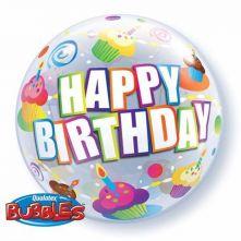 """Балон с мъфини, точки и надпис Happy Birthday 22""""- 56 см"""