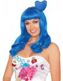 Перука Синя - Candy Girl с диадема сърце.