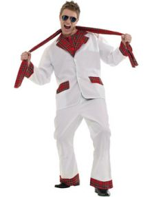 Карнавален костюм от 70-те бял костюм с каре - 70s Tartan Glam Rocker Disco