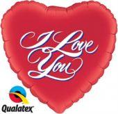 """Сърце червено с Обичам те ( I Love You ) 9""""-23см"""