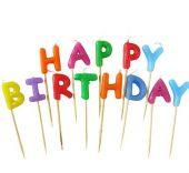 Свещи за Рожден Ден на клечки с надпис Happy Birthday