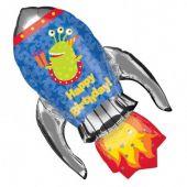 """Балон с формата на Ракета за Роден Ден (с  надпис Happy Birthday)  37""""- 94 см на 24""""- 56см"""