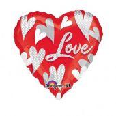 """Сърце с надпис Love и сърца  18""""- 46 см."""