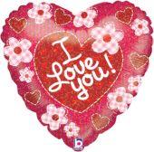 """Сърце със сърчица и  цветя и надпис I LOVE YOU  18""""- 45 см."""