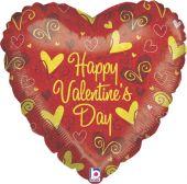 """Сърце със златни сърчица и надпис  Happy Valentine's Day  18""""- 45 см."""