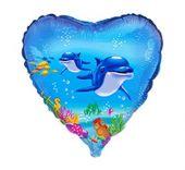 """Сърце с весели Делфинчета  18""""- 45 см."""