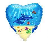 """Сърце със семейство Делфини  18""""- 45 см."""