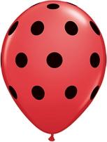 Балони червени с големи черни точки  (Big Polka Dots ) 11'' (28см.)