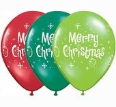 Балони Merry Chrismas  - асорти 11'' (28см.)
