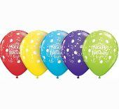Балон Happy Birthday to you с балони и ноти  11'' (28см.) асорти