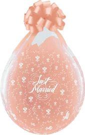 """Балони за подаръци с надпис Just Married и цветя  18"""" - 45см"""