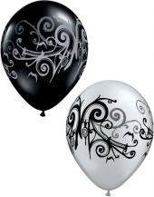Балони Сребърни и Черни оникс  11'' (28см.)