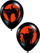 Балони Черни оникс с луна и котка 11'' (28см.)