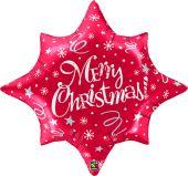 "Балон с надпис Merry Christmas! - Звезда  34"" - 86см. Червен - металик"